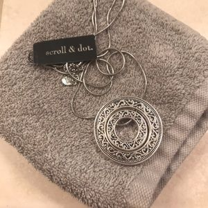 Scroll and Dot silver pendant necklace